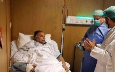 میاں نواز شریف کی احسناقبال کی عیادت کیلئے سروسز ہسپتال آمد