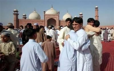 لاہور سمیت ملک بھر میں عیدالفطر مذہبی جوش و خروش سے منائی جارہی ہے
