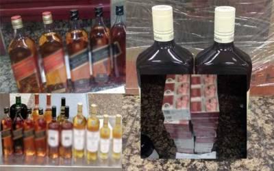 کسٹمز کی بڑی کارروائی، شراب کی بوتلیں برآمد