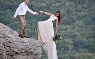 شادی کو یادگار بنانے کیلئے خطرناک فوٹو لینےکا انجام