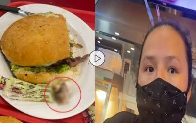 women find a finger in burger