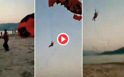 Accident at khanpur dam during paragliding